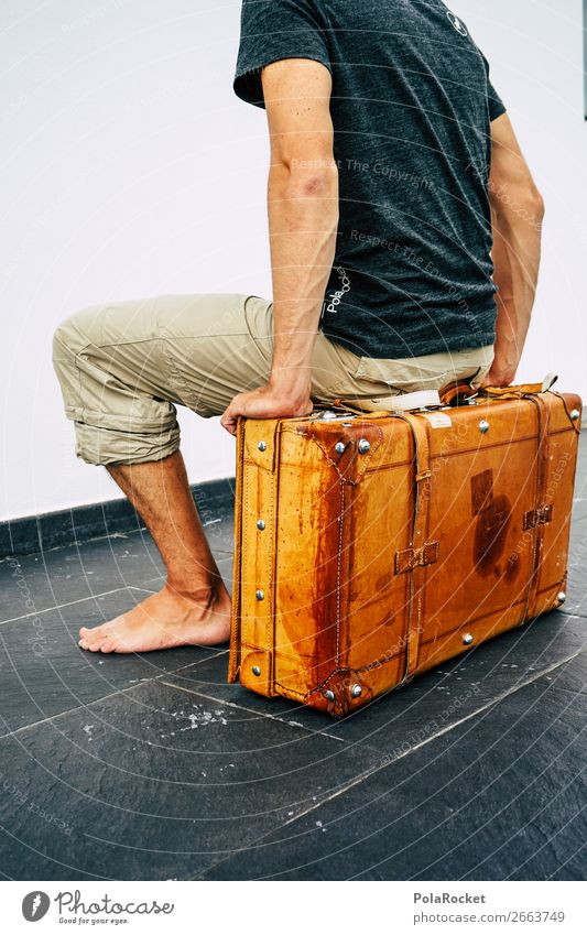Human being Vacation & Travel Young man Masculine Sit Arrangement Things Suitcase Nostalgia Divide Goodbye Ancient Leather Traveling Grasp Trunk