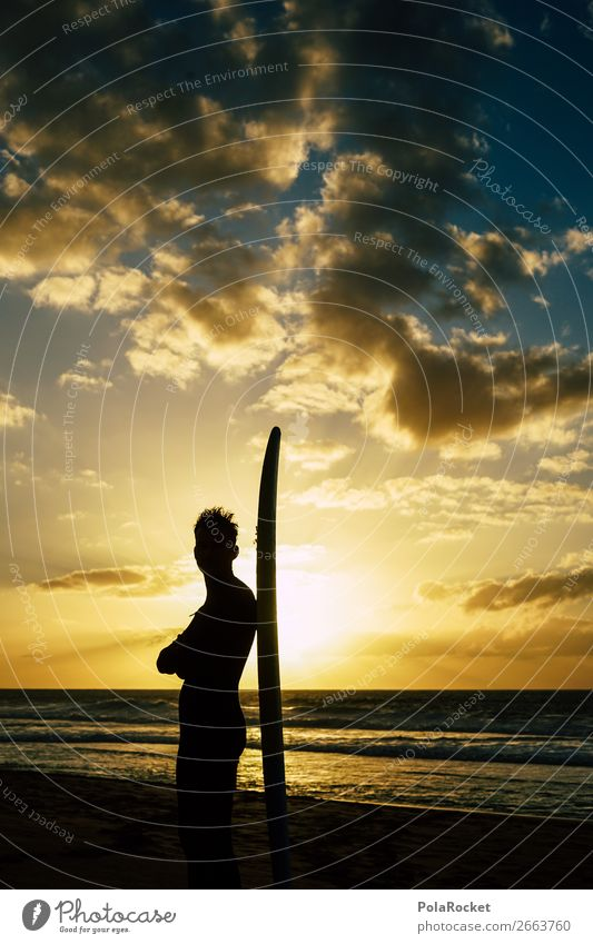 #AS# SurferBoy Lifestyle Joy Happy Surfing Surfboard Surf school Beach Dream Gorgeous Vacation & Travel Waves Sunset Shadow Young man Vacation photo Cliche