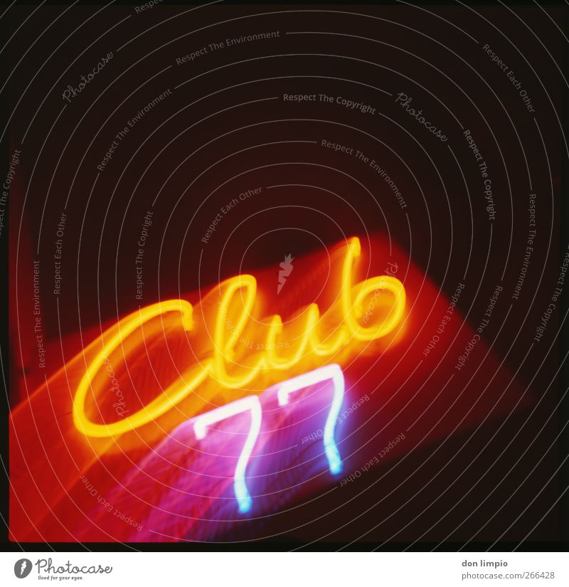 club77 Night life Club Disco Brothel Services Characters Digits and numbers Bright Multicoloured Illuminate Neon sign Illuminated letter Analog Colour photo