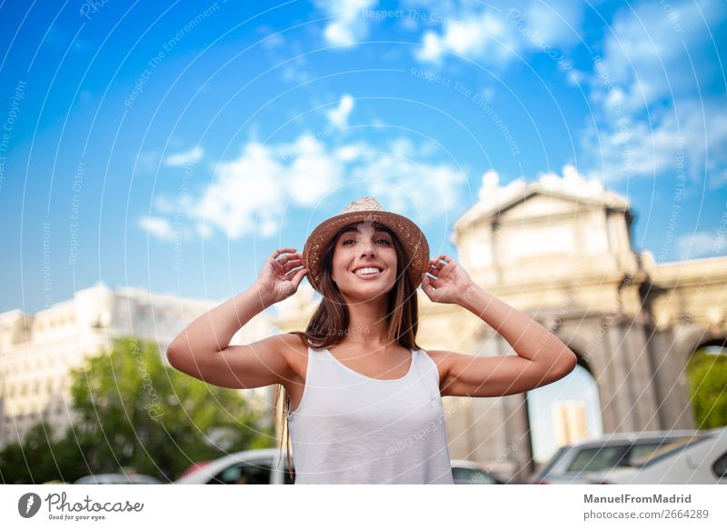 young tourist woman at puerta alcala madrid Lifestyle Happy Beautiful Vacation & Travel Tourism Summer Human being Woman Adults Street Fashion Hat Smiling Joy