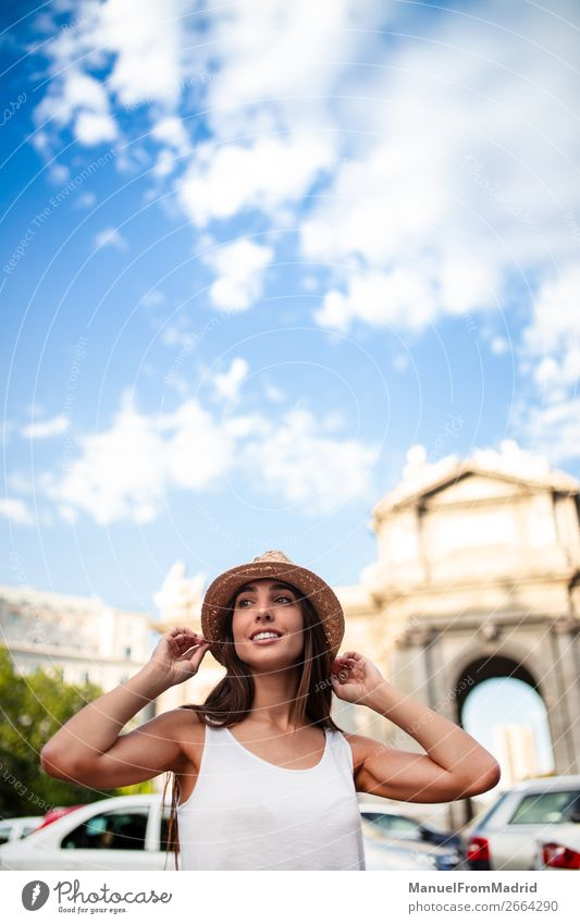 young tourist woman at puerta alcala madrid Lifestyle Happy Beautiful Vacation & Travel Tourism Summer Human being Woman Adults Street Fashion Hat Smiling
