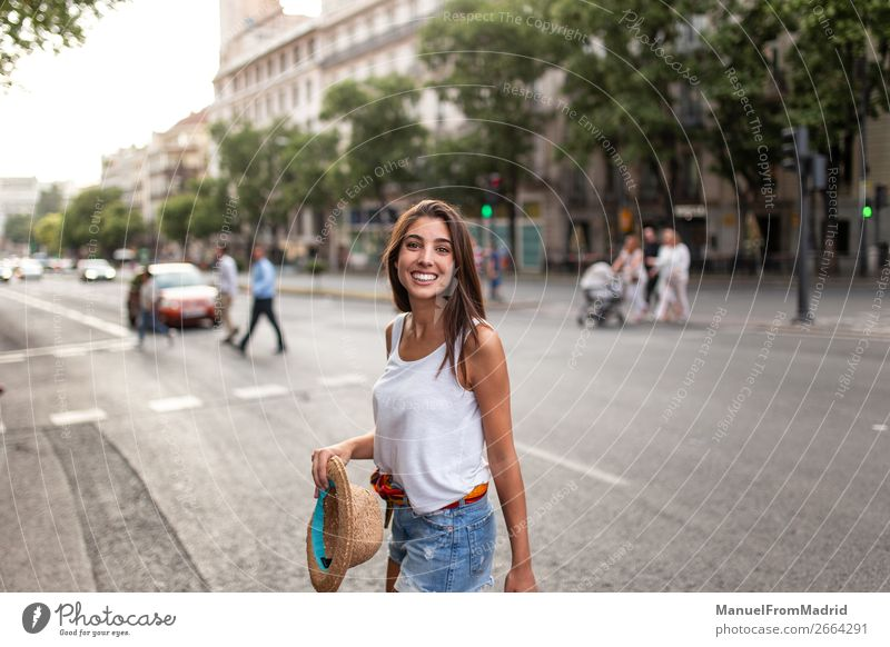 young cheerful woman in the street Lifestyle Happy Beautiful Vacation & Travel Tourism Summer Human being Woman Adults Street Fashion Hat Smiling Esthetic