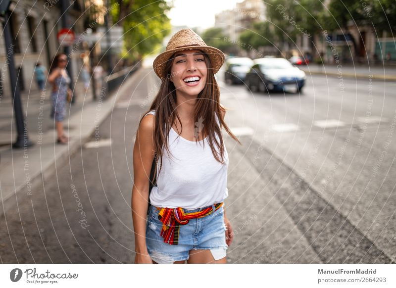 young cheerful woman in the street Lifestyle Happy Beautiful Vacation & Travel Tourism Summer Human being Woman Adults Street Fashion Hat Smiling Authentic