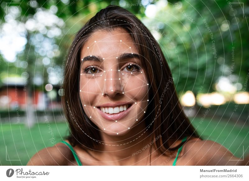 facial recognition concept Beautiful Face Medication Science & Research Computer Camera Technology Human being Woman Adults Smiling Safety (feeling of) Future