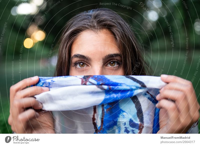 woman hiding her face Elegant Beautiful Face Human being Woman Adults Fashion Clothing Scarf Authentic Friendliness Natural Blue White Secrecy Adventure Colour