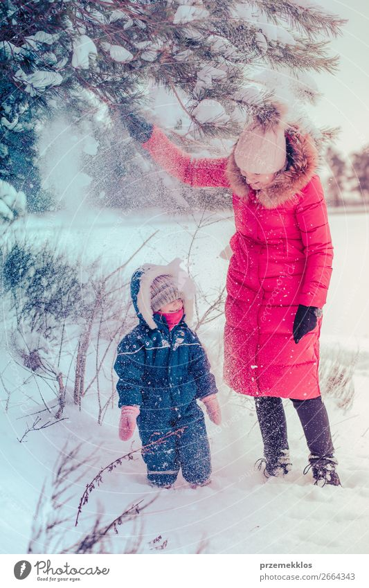 Mother and her little daughter enjoying winter Woman Child Human being Nature Youth (Young adults) Young woman White Landscape Joy Forest Winter Girl Lifestyle