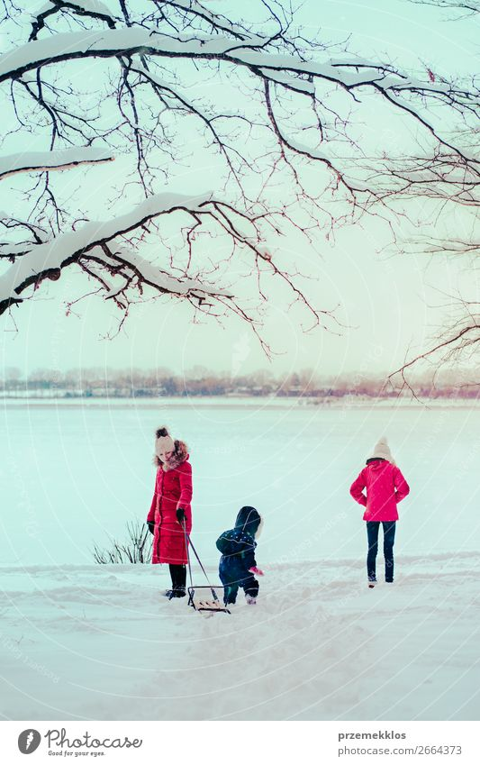 Family spending time together walking outdoors in winter Woman Child Human being Nature Youth (Young adults) Young woman White Joy Forest Winter Girl Lifestyle
