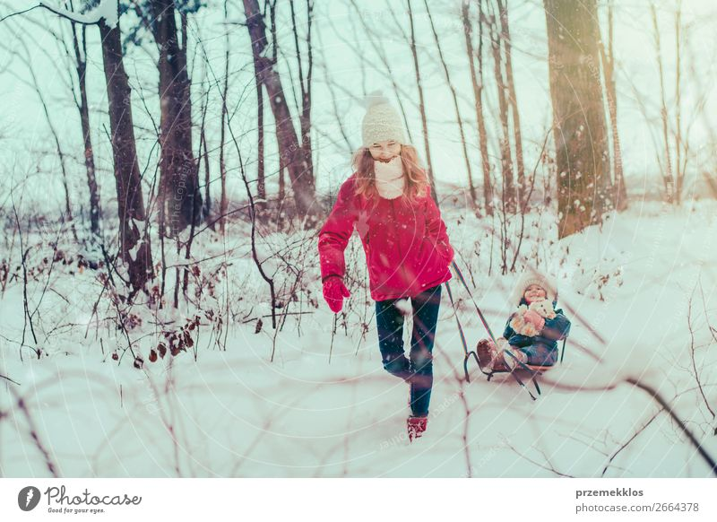 Teenage girl pulling sled with her little sister through forest Lifestyle Joy Happy Winter Snow Winter vacation Human being Child Girl Young woman