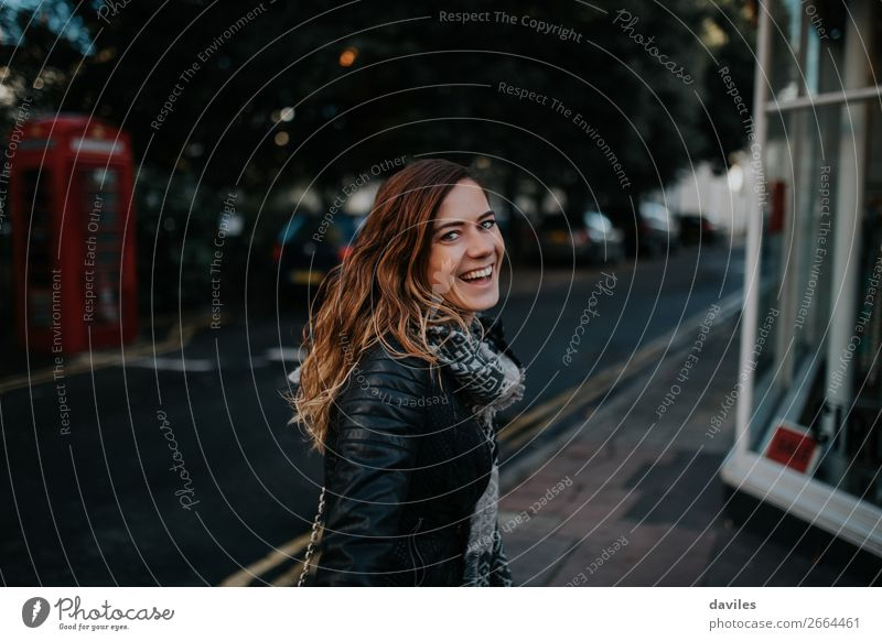 Big smile girl in London Lifestyle Style Joy Tourism City trip Camera Human being Feminine Young woman Youth (Young adults) Woman Adults 1 30 - 45 years Street