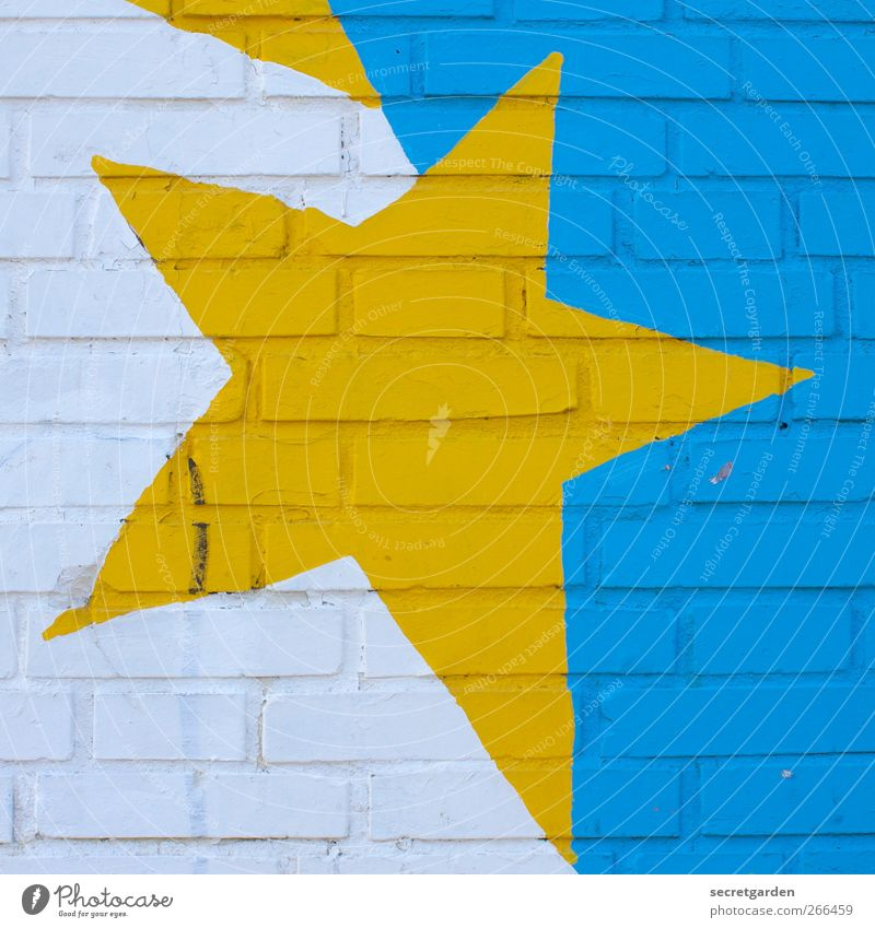 with corners and edges. Art Building Wall (barrier) Wall (building) Facade Decoration Sign Graffiti Illuminate Sharp-edged Rebellious Crazy Trashy Blue Yellow