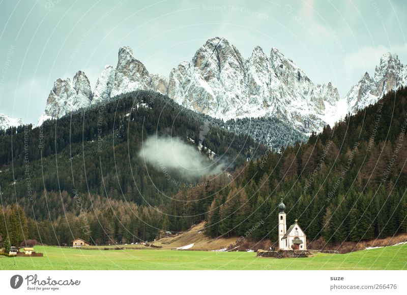 hurried prayer Summer Environment Nature Landscape Sky Clouds Climate Beautiful weather Meadow Forest Alps Mountain Peak Snowcapped peak Church Exceptional