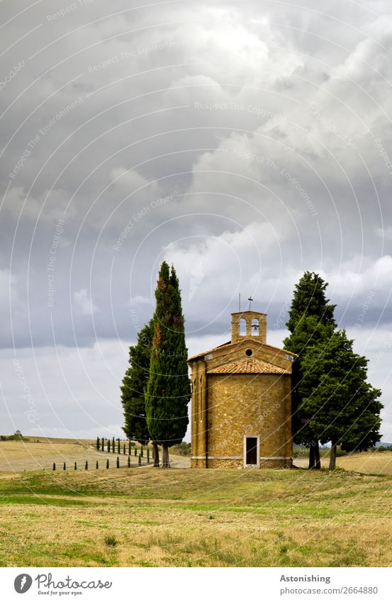 small Tuscan chapel Environment Nature Landscape Plant Sky Clouds Storm clouds Horizon Weather Bad weather Tree Hill Siena Tuscany Italy