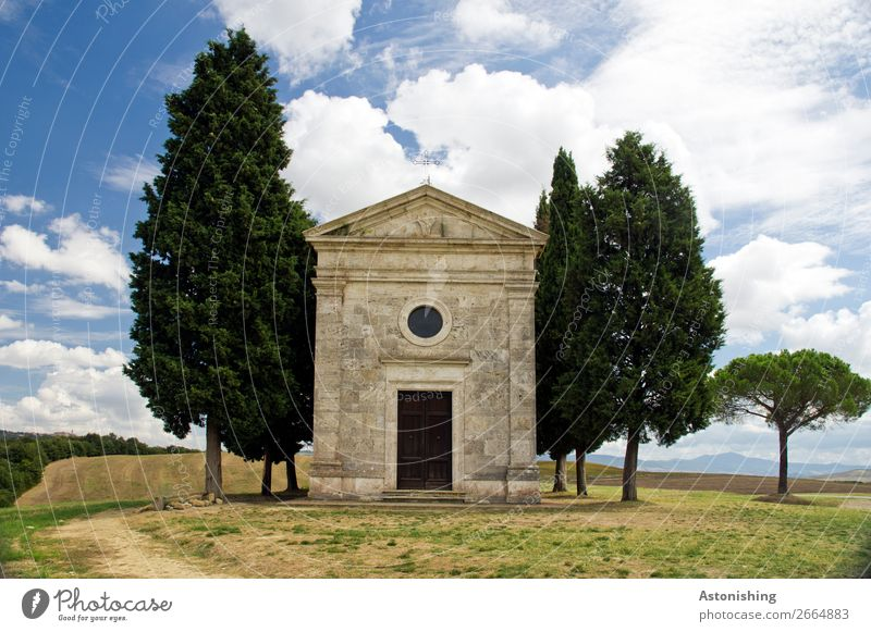 the guarded chapel Environment Nature Landscape Plant Sky Clouds Summer Weather Tree Grass Hill Siena Tuscany Italy House (Residential Structure) Church