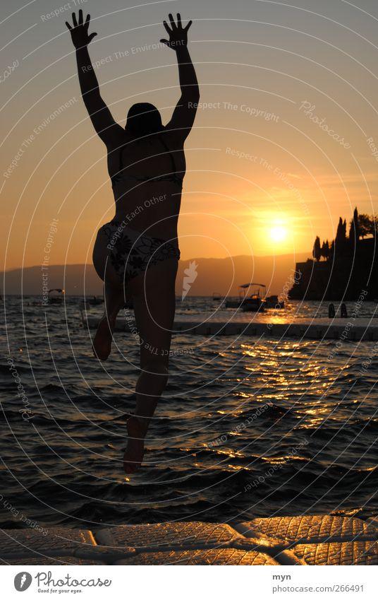 Human being Youth (Young adults) Vacation & Travel Sun Ocean Summer Beach Joy Adults Far-off places Feminine Freedom Coast Jump Lake Horizon