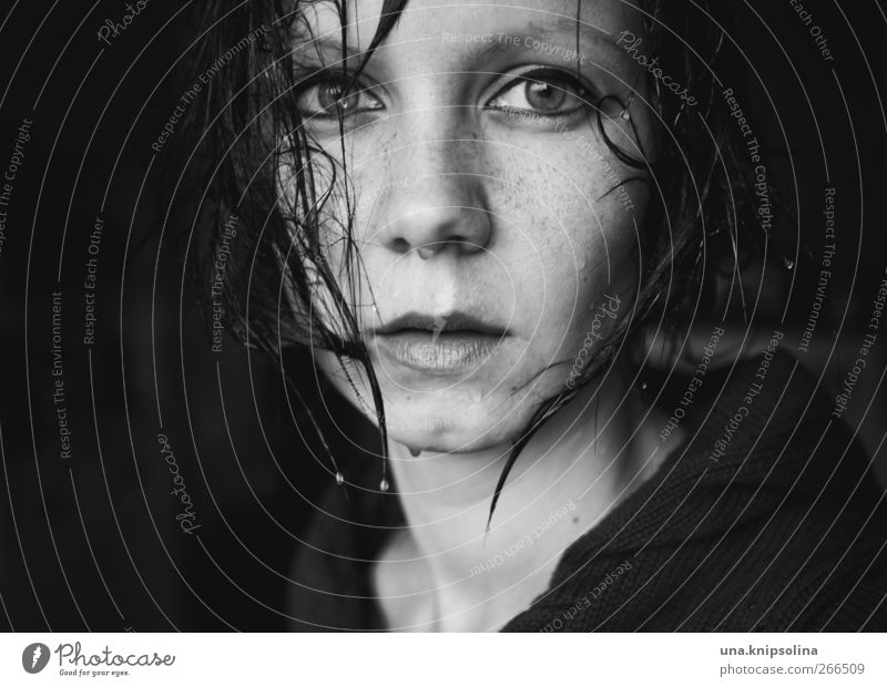 Human being Woman Youth (Young adults) Beautiful Face Adults Dark Cold Feminine Emotions Sadness Moody Rain Fear Wet Drops of water
