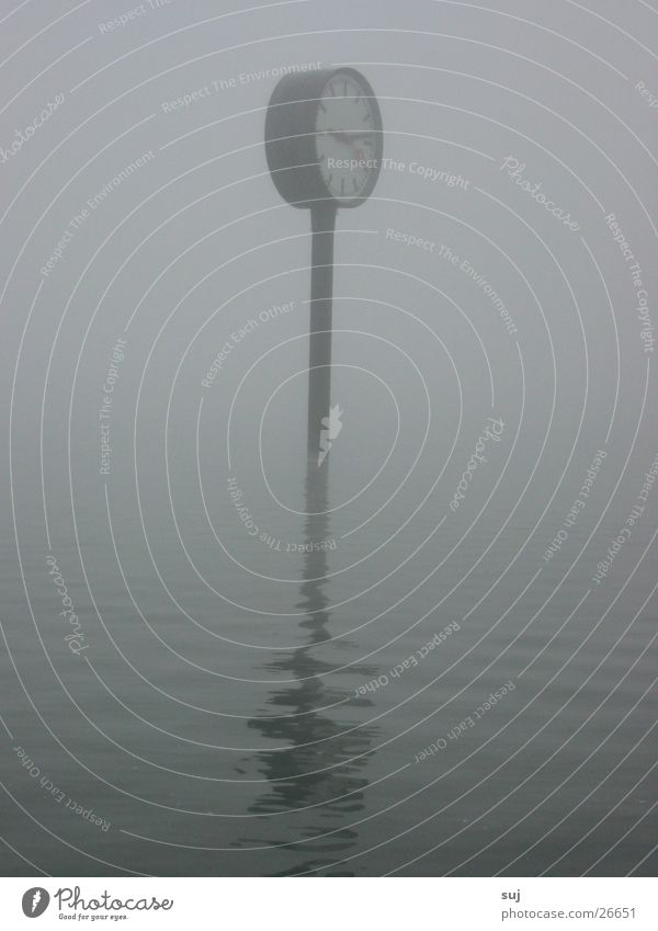 Water Gray Lake Fog Clock Obscure Flood Exhibition Surface of water World exposition Station clock