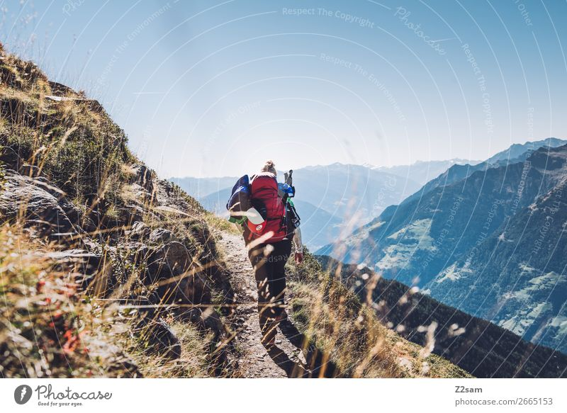Ascent to Hirzer in South Tyrol | E5 Alpine crossing Lifestyle Leisure and hobbies Vacation & Travel Mountain Hiking Climbing Mountaineering Young woman