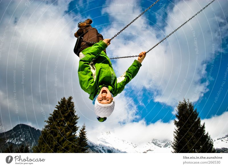 Human being Woman Child Youth (Young adults) Winter Joy Adults Snow Feminine Life Mountain Playing Happy Laughter Contentment Flying