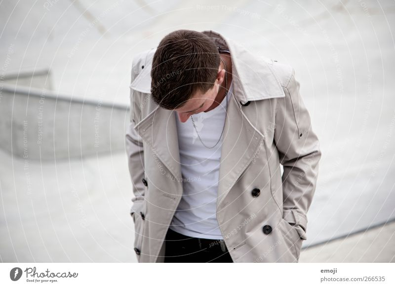 grey Masculine Young man Youth (Young adults) 1 Human being 18 - 30 years Adults Fashion Jacket Hip & trendy Gray Anonymous Colour photo Subdued colour
