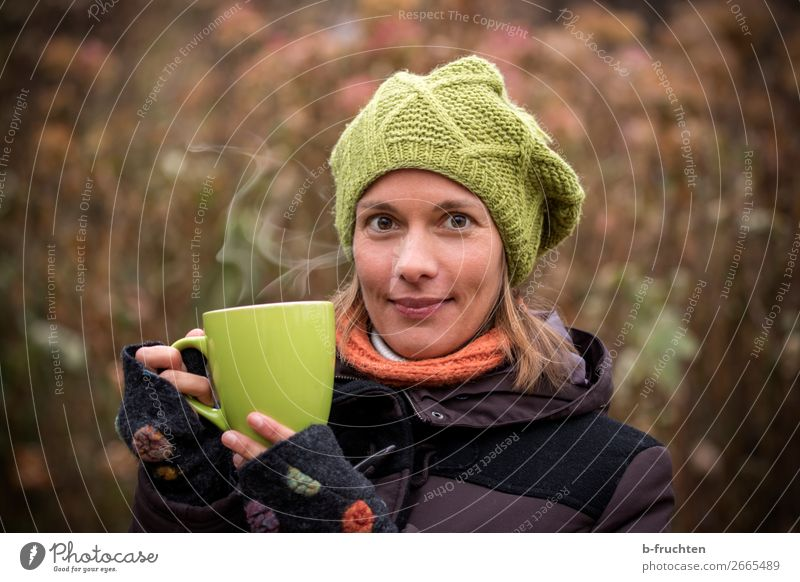 Cold Season - Tea Time Beverage Hot drink Coffee Cup Healthy Eating Woman Adults Face Hand 1 Human being Autumn Winter Coat Scarf Cap Utilize To hold on