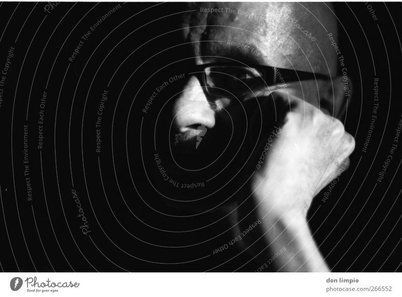 Man Old Hand White Black Adults Dark Senior citizen Head Dream Moody Masculine Eyeglasses Near 60 years and older Serene