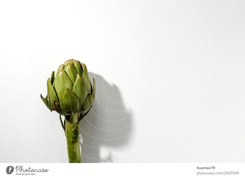 Fresh raw artichokes. On white background. Food Vegetable Nutrition Vegetarian diet Diet Delicious Natural Above Green White Artichoke Raw Detox Health healthy