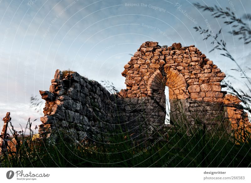 The church is dead ... Nature Plant Grass fanore Ireland Europe Village Church Dome Ruin Wall (barrier) Wall (building) Window Old Build Dark Hope Concern Grief
