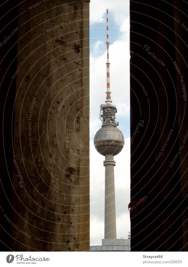 Berlin Sky Clouds Graffiti Architecture Column Museum Berlin TV Tower