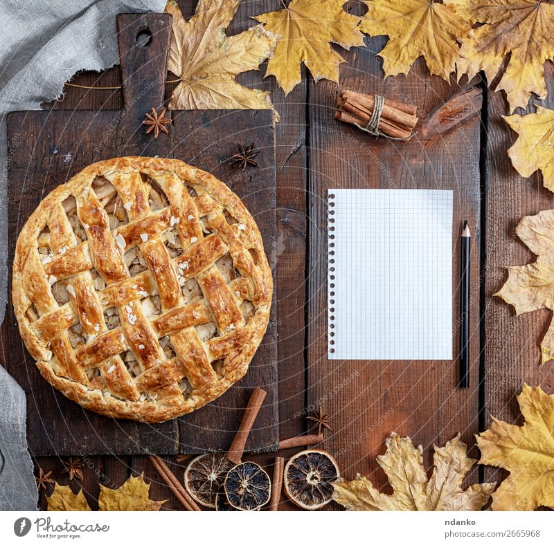 baked whole round apple pie Fruit Apple Dessert Candy Table Kitchen Thanksgiving Autumn Leaf Wood Eating Fresh Above Brown Yellow Tradition sheet fall seasonal