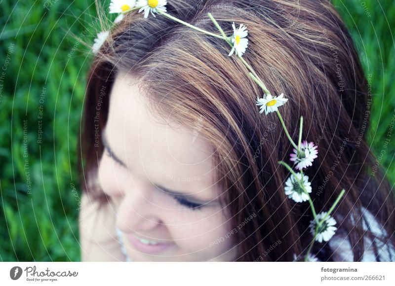 Human being Nature Youth (Young adults) White Green Beautiful Plant Face Relaxation Environment Meadow Feminine Life Spring Freedom Hair and hairstyles