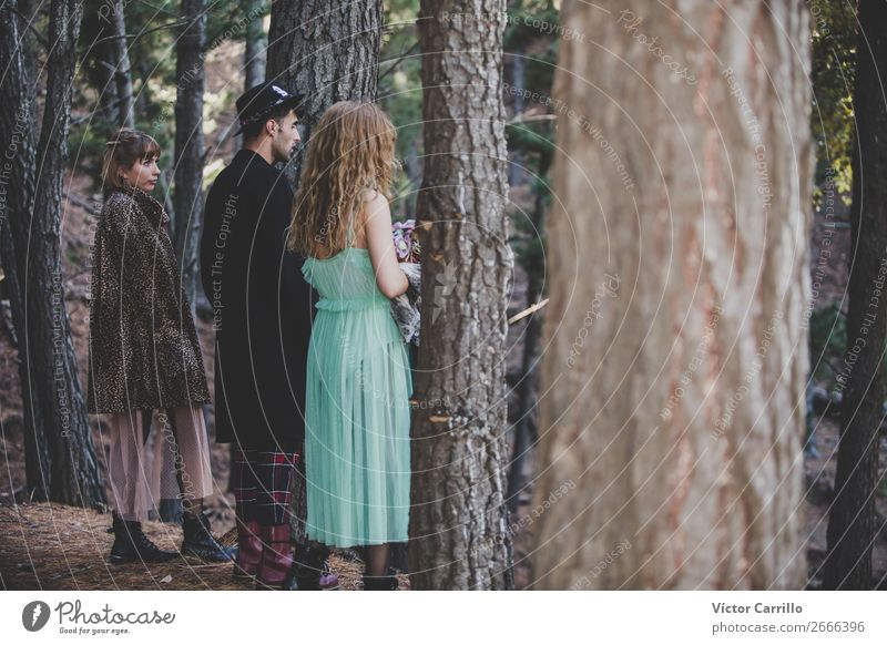 A group of Friends Standing in the Woods Lifestyle Elegant Design Exotic Beautiful Human being Feminine Girl Young woman Youth (Young adults) Young man