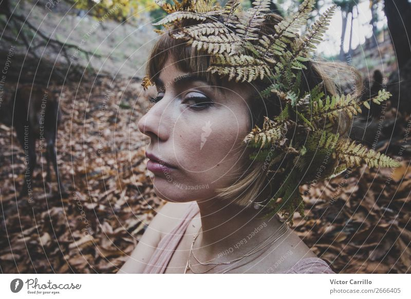 Young Woman Close-up In the woods Lifestyle Shopping Luxury Elegant Style Design Exotic Beautiful Human being Feminine Young woman Youth (Young adults) Adults