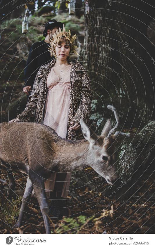 A girl and a deer in an Editorial Folky Session in the woods Human being Nature Beautiful Tree Animal Lifestyle Environment Feminine Style Fashion Moody Design