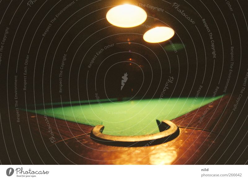 billiard Leisure and hobbies Playing Pool (game) Night life Going out Brown Green Pool billard Felt Wood Colour photo Interior shot Close-up Light Shadow