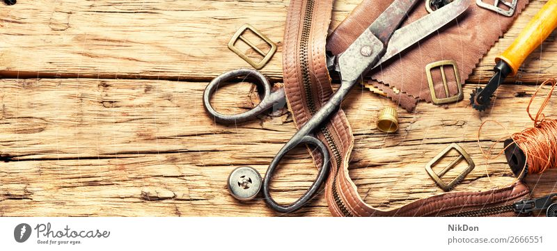 Tools of a tanner for working with leather craft handmade tool manual workshop handicraft shoemaker repair old hobby manufacturing craftsman retro workmanship