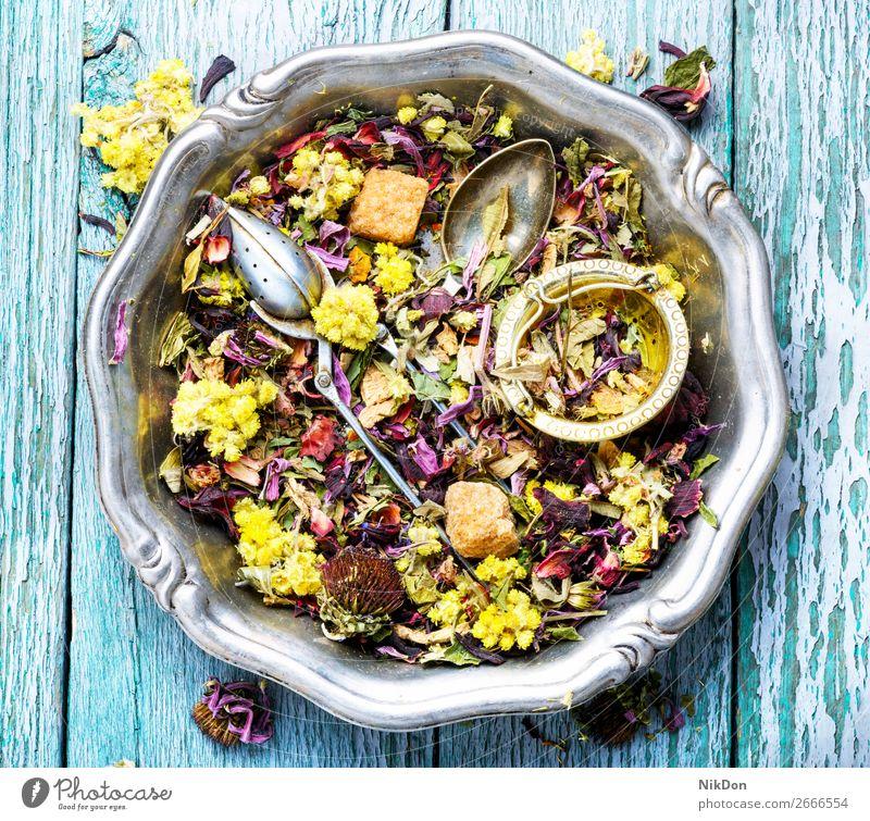 Herbal tea flower leaves herb herbal leaf drink healthy natural dry antioxidant plant aromatic spoon heap petal medicine hibiscus asian relaxation mix scoop
