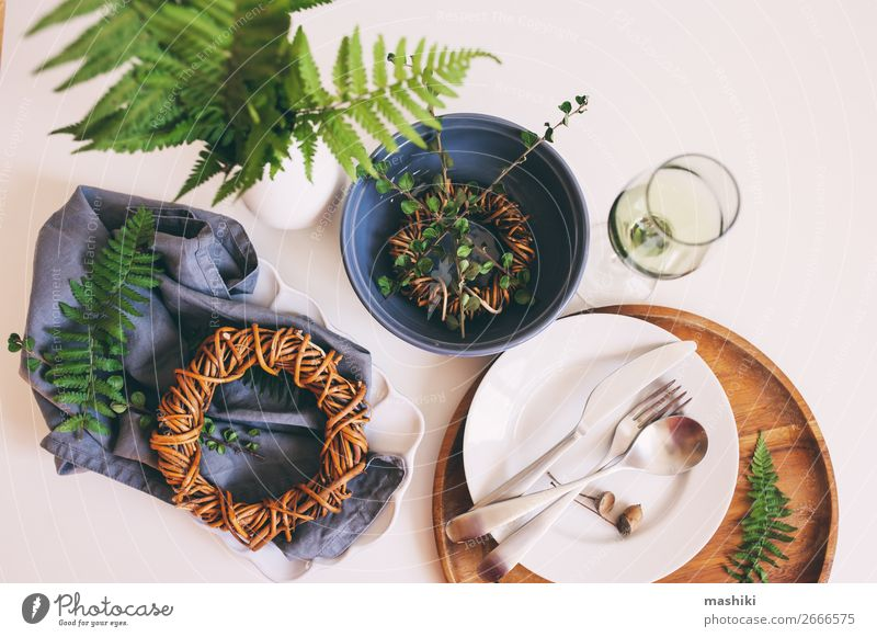 rustic table setting in natural forest style Old Dish Forest Natural Style Decoration Retro Arrangement Table Kitchen Wedding Restaurant Crockery Home Plate