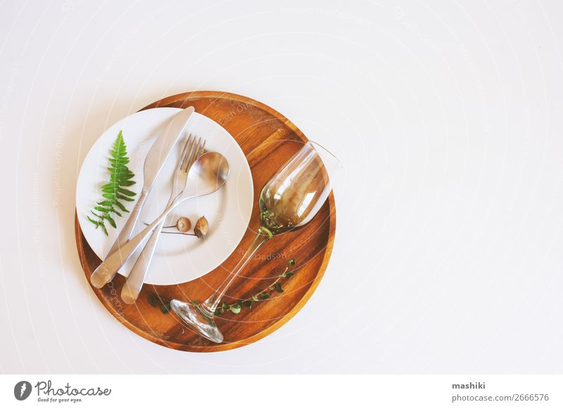rustic table setting in natural forest style Old Dish Forest Wood Natural Style Brown Decoration Retro Arrangement Table Kitchen Wedding Restaurant Crockery