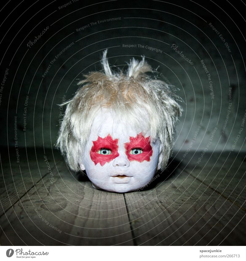 dark side Toys Doll Observe Exceptional Threat Creepy Hideous Red White Fear Dangerous Head doll's head Make-up Voodoo Whimsical Horror film Wooden floor