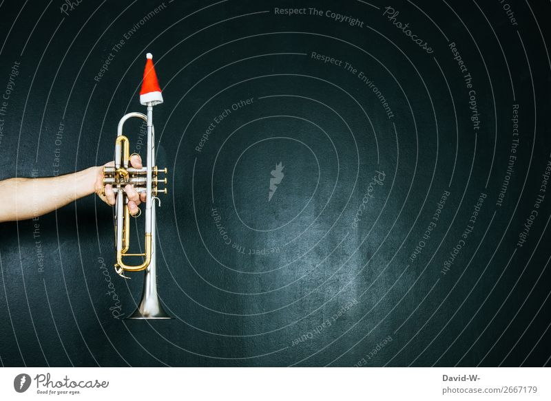 Trumpet with Santa cap Christmas & Advent Music Musician Santa Claus hat Christmas decoration Christmas music Decoration Christmassy Musical instrument
