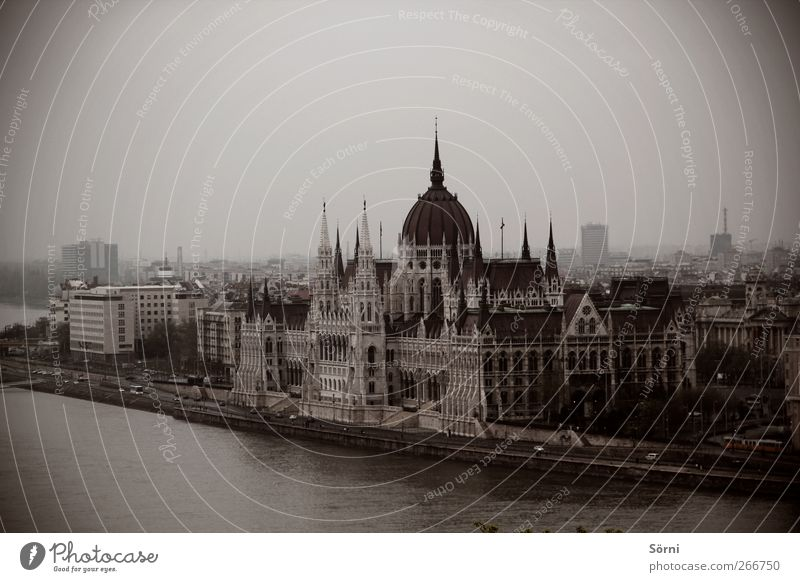 Országház Style Architecture Culture Bad weather Storm Fog River bank Danube Budapest Hungary Europe Town Capital city Deserted City hall Tower