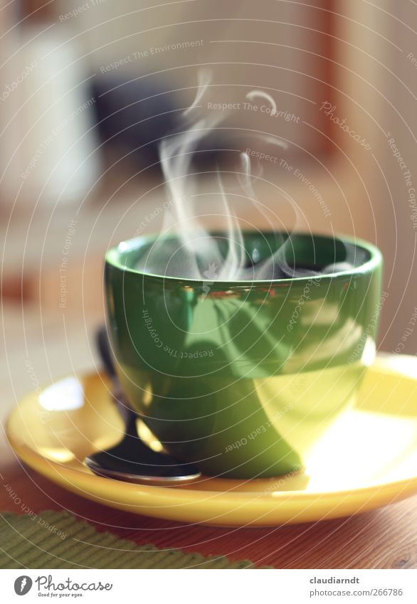 Let's get some steam going! Breakfast To have a coffee Beverage Hot drink Coffee Crockery Plate Cup Spoon To enjoy Drinking Fresh Yellow Green Steam Fragrance