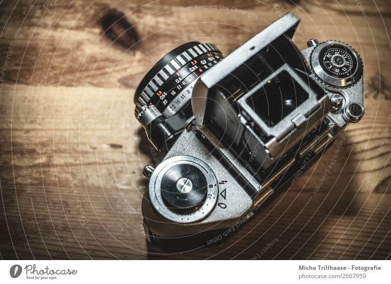 Analogue photo camera Photographic technology Camera Photography Old Sharp-edged Near Original Retro Brown Red Black Silver Design Advancement Nostalgia
