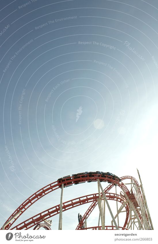 airspeed. Cloudless sky Summer Beautiful weather Hamburg Dom Transport Means of transport Traffic infrastructure Passenger traffic Roller coaster Steel Rotate