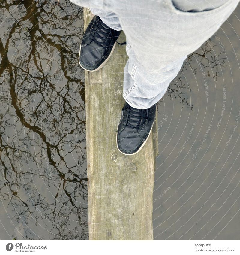 balance Man Adults Legs Feet Pond Lake Brook Healthy Curiosity Balance Footbridge Caution Traverse Trouser leg Water reflection Surface of water