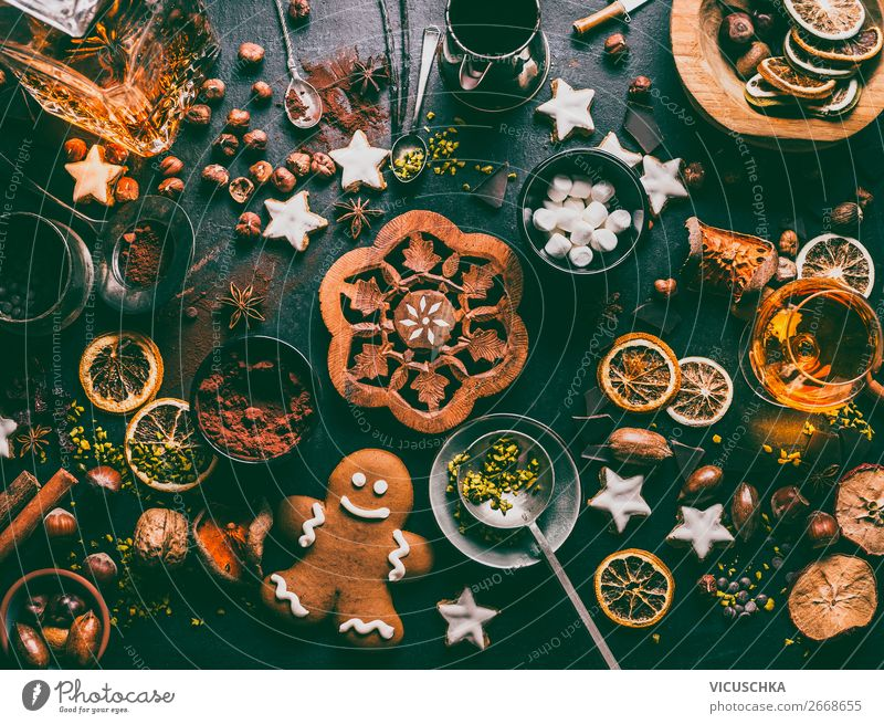 Sweets and chocolate for Christmas Food Candy Chocolate Herbs and spices Nutrition Banquet Beverage Hot Chocolate Crockery Shopping Style Design Winter Table