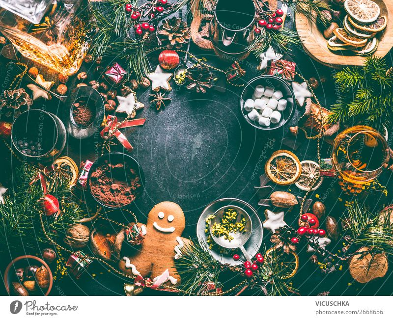 Christmas background frame with cookies and gingerbread Food Dessert Candy Chocolate Herbs and spices Nutrition Banquet Hot Chocolate Spirits Crockery Shopping