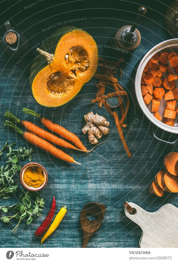 Vegetables for pumpkin soup Food Soup Stew Nutrition Organic produce Vegetarian diet Diet Crockery Pot Style Design Healthy Eating Winter Restaurant Chili