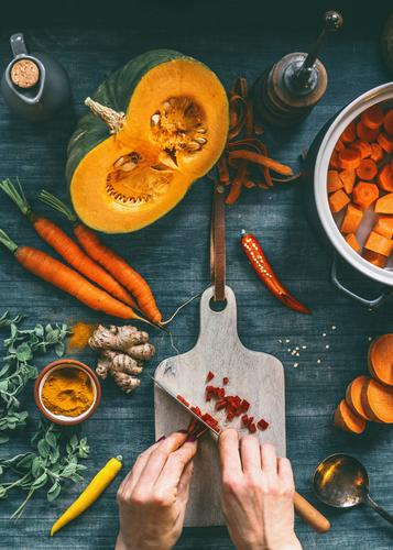 Female hands cut vegetables for pumpkin soup Food Vegetable Herbs and spices Nutrition Lunch Dinner Organic produce Vegetarian diet Diet Crockery Pot Style