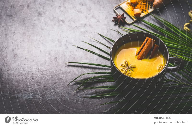 Golden turmeric milk with spices and honey Food Herbs and spices Nutrition Organic produce Vegetarian diet Diet Beverage Hot drink Milk Cup Style Healthy